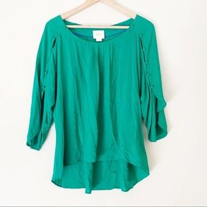 Anthro Maeve Braxton Button Sleeve Top Green Small